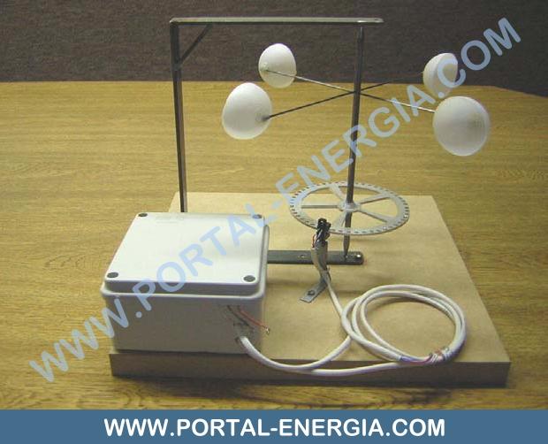 Anemómetro de conchas com sensor fotoeléctrico
