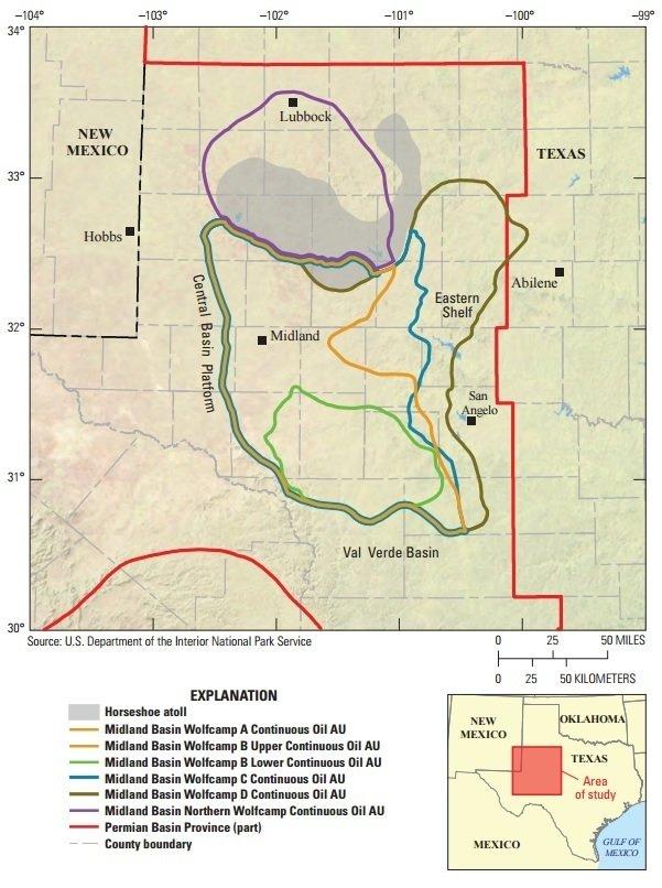 Mapa Jazida de Petróleo Midland Wolfcamp - Texas