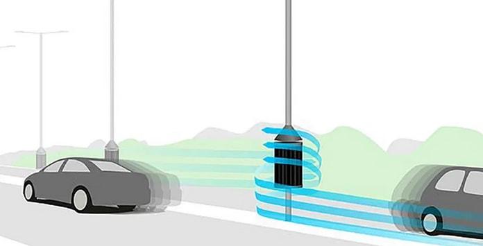 Turbina geradora de eletricidade a partir do vento dos veículos