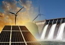 Energias renováveis solar eólica e hídrica