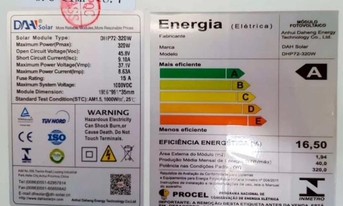 Exemplo de certificado de módulo solar fotovoltaico