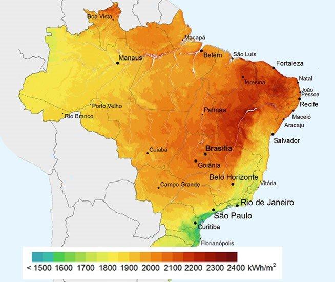 Mapa de Irradiação Solar Global no Brasil