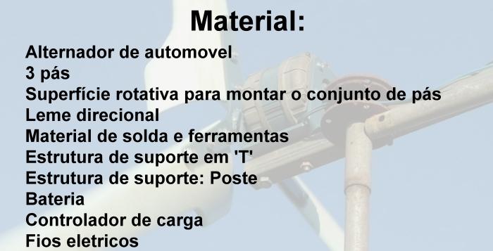 material para construir aerogerador