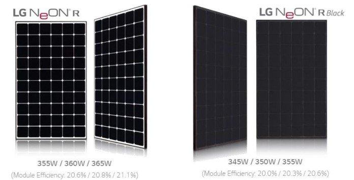 Painéis Solares LG NEON R e NEON R Black