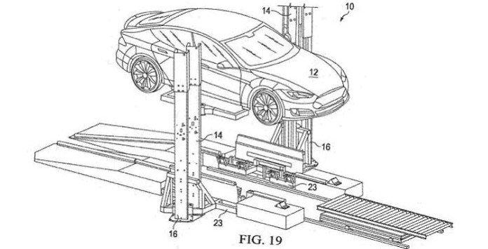 Esquema da patente da Tesla