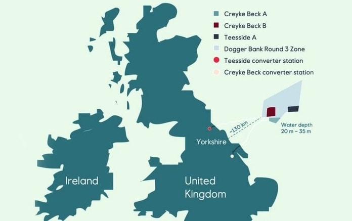 Localização do complexo eólico offshore Dogger Banks